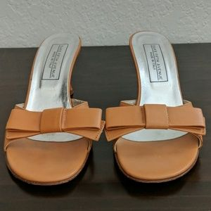 Saks Fifth Avenue Tan Kitten Heel Sandals w/ Bow